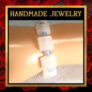 White Onyx & Chacedony Stone Bracelet #397